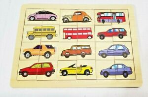MATCHING TRANSPORTATION CARS BUS TRUCK COLORS WOODEN PUZZLES LIGHT WEIGHT