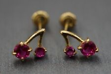 14K Solid Yellow Gold Cherry Created Ruby Birthstone Screw Back Earrings.