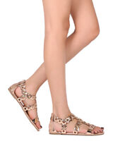 New Women Liliana Jagger-27 Open Toe Metallic Grommet Gladiator Flat Sandal
