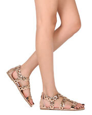 85555f61832f New Women Liliana Jagger-27 Open Toe Metallic Grommet Gladiator Flat Sandal