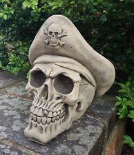 STONE GARDEN PIRATE HAT SKULL GOTHIC HUMAN HEAD ORNAMENT STATUE