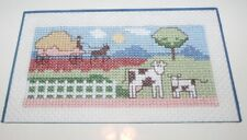 Adorable COWS ON THE FARM Counted Cross Stitch Professionally Matted Farmed