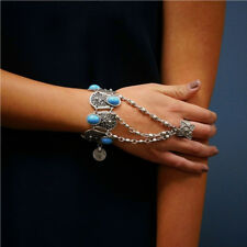 Silver Plated Inlay Blue Resin Beads Coin Pendant Hand Chain Ring Bracelets
