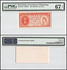 Hong Kong 10 Cents, ND 1961-65, P-327, UNC, Queen Elizabeth II (QEII),PMG 67 EPQ