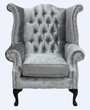 Chesterfield Queen Anne High Back Fireside Wing Chair Shimmer Silver Velvet SS