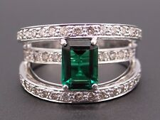 14k White Gold 2.25ct Emerald Cut Chatham Emerald Diamond Cluster Band Ring