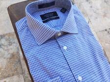 $100 Nordstrom Mens Shop Extra Trim Fit Dress Shirt Long Sleeve Check Navy Sz 15
