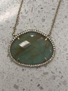 Necklace Pendant Choker 14K Yellow Gold Pave Diamond Fine Jewelry