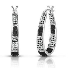 Women's 18Kt White Gold Plated Austrian Crystal Inside Outside Hoop Earrings