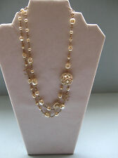 Chanel CC Gold-tone & Fresh Water Fine Faux Pearl Necklace with Medallion