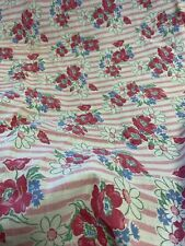 Vintage cloth feed sack floral print - pillowcase quilt craft fabric pink & blue