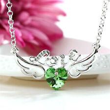Elegant Women's Jewelry Crystal green Angel wings Charm Silver Pendant Necklace