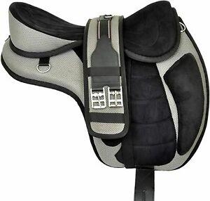 "Synthetic Treeless Horse English Freemax Saddle Set Girth Grey 15"" Seat FREE PP"