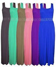 New Womens Plus Size Diamonte Studded Long Evening Tie Back Maxi Dress 16-26