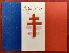 Croix de Lorraine Guerre 39/45 Document Imprimé en 1940 à Londres France Libre