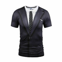 Mens Tuxedo Fake Suit 3D Print Short Sleeve Summer Casual T-Shirts Graphic Tee