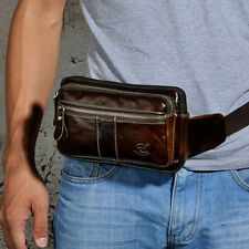 The new Men fashion Oil Wax Genuine Leather Travel Vintage  Fanny Pack Waist Bag