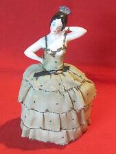Antique porcelain half doll, dressed dancer pin chusion doll