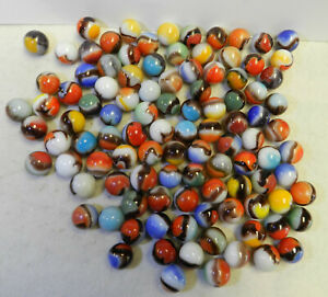 #12451m Vintage Group or Bulk Lot of 100 Mostly Vitro Agate Marbles .62 to .65