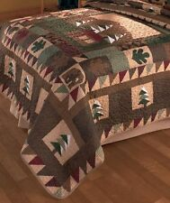 Big Pine Lodge King Size Quilt Rustic Cabin Nature Designs Bed Bedroom Decor