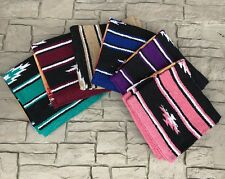 "19"" X 19"" Western Navajo Mini Saddle Pad Blanket- Blue, Pink, Tan, Purple- New"