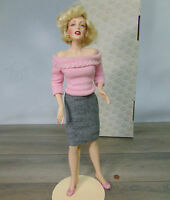 "MIB Franklin Heirloom MARILYN MONROE 19"" Porcelain SWEATER GIRL DOLL Pink Pearls"