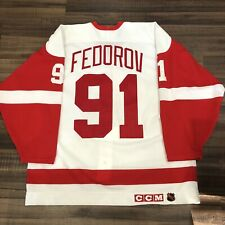 CCM Center Ice Authentic Sergei Fedorov Detroit Red Wings NHL Hockey Jersey 52