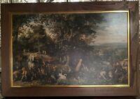 Jan Bruegel the Elder 1610-1612 GARDEN OF EDEN large vintage midcentury frame!
