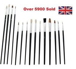 15 x ARTISTS PAINT BRUSHES Large/Small SET FINE PROFESSIONAL HOBBY OIL Acrylic