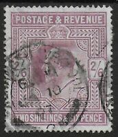 "SG262. 2s6d.Dull Purple (c). Fine Used With CDS For ""JA 10 07"".Cat.£180.Ref.0963"
