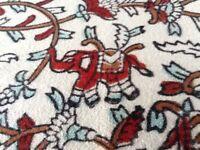 Large Vintage Cotton Mix Tablecloth & 6 Napkins Elephant & Flower Pattern