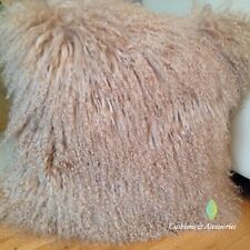 40x40CM GENUINE MONGOLIAN SHEEPSKIN LAMB WOOL FUR CUSHION WITH PAD - LIGHT BROWN