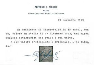 REGNO 1863-65 N.L18 EFFIGIE DE LA RUE 15 c. CELESTE CHIARO MNH ++ CERTIFICATO