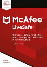 McAfee LiveSafe 2018 Unlimited PC / Geräte / 1Jahr Vollversion Antivirus