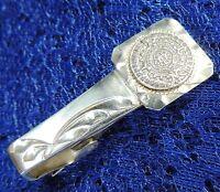 "Classy Vintage MEN'S AZTEX style 1 1/2"" Sterling Silver 0.925 Estate TIE CLASP"