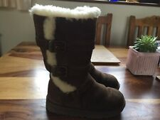 UGG Girls Kensington Suede Brown Leather Boots Kids UK Size 10