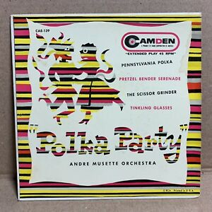 """JIM FLORA cover art POLKA PARTY André Musette Orchestra 7"""" EP CAMDEN CAE-139"""