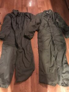 Mechanics Military Green Cold Weather Coveralls Size Small Lined Well Made!