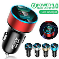 Dual USB Ports Car Charger 3A Fast Charging Adapter LED Socket Lighter Accessory