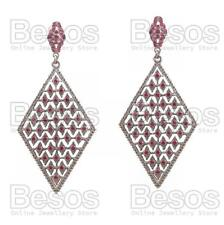 "4""long FUCHSIA CRYSTAL rhinestone WHITE GOLD FASHION EARRINGS diamond shape UK"