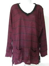 French Connection Plus Size Burgundy/Black Striped Pockets Dress Sweater size 2X
