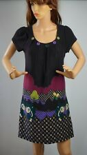 Masta Knitted Used Women Dress Tunic Multicolored Size-S/M Flowered Squirrel