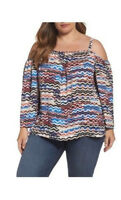 Vince Camuto Womens Blue Brown Top Cold Shoulder Long Sleeve Plus Sz 1X NWT