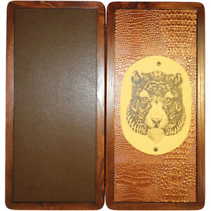 """21"""" High-quality Tiger Backgammon Set Wood & Leather Tournament Board"""