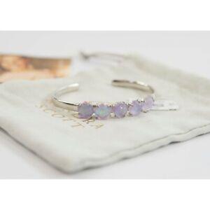 Kendra Scott Nash Amethyst Dichroic Glass Rhodium Open Pinch Cuff Bracelet NWT