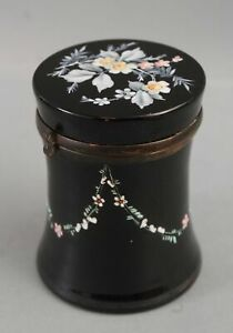 Antique 19thC French Opaline Black Onyx Glass & Hand Painted Enamel Dresser Jar