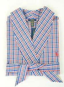 New Polo Ralph Lauren Men's Plaid Woven Cotton Robe Sleepwear
