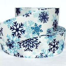 "Grosgrain Ribbon 7/8"", 1.5"", Snowflakes Christmas Gifts White & Blue Printed"
