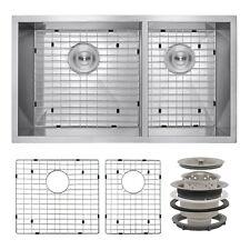 """32"""" x 18"""" x 9"""" Undermount Dual Stainless Steel Kitchen Sink w/ Drain Dish Grid"""
