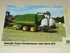 Prospectus Tracteur JOHN DEERE Presse 678 brochure  tractor traktor prospekt